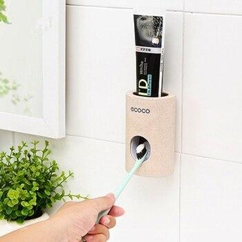 Gran oferta dispensador automático de pasta de dientes a prueba de polvo soporte de cepillo de dientes soporte de montaje en la pared accesorios de baño exprimidor de pasta de dientes