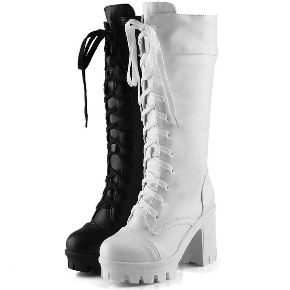 KARINLUNA yeni büyük boy 34-43 bayanlar parti ofis çizmeler kadın dantel Up platformu orta buzağı çizmeler yüksek tıknaz topuklu ayakkabılar kadın