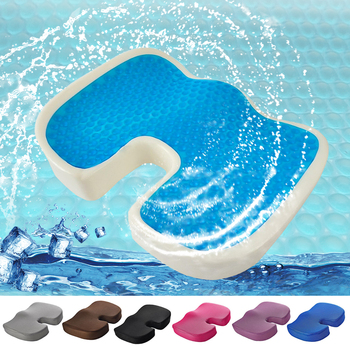 Mesh Seat Cushion With Cool Gel Memory Foam Tailbone Pillow For Chair Cushion Pad Car Office Hip Support Buttock Protect image