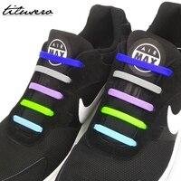 16 pcs/lot lacets en Silicone élastique pour chaussures lacet créatif pas de lacets de chaussure pour hommes femmes chaussures de laçage lacets en caoutchouc