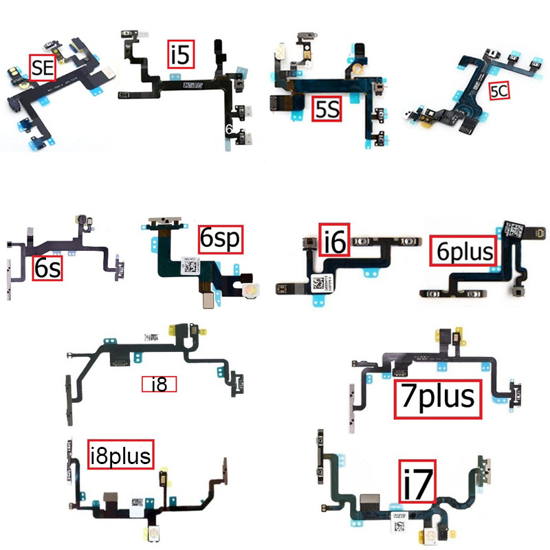 Mute&Volume&Power Flex Cable For IPhone 5 5S 5C SE 6 6s 7 8 Plus Volume Power Button Switch Flex Ribbon Repair Parts
