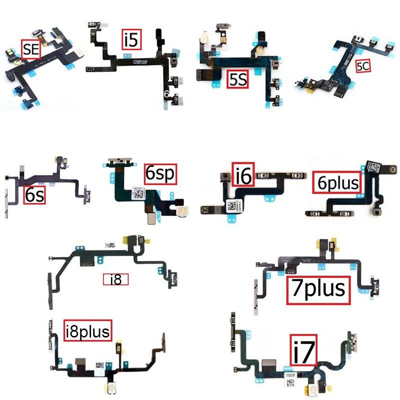Mute&Volume&Power Flex Cable For IPhone 5 5S 5C SE 6 6s 7 8 Plus Volume Power Button Switch Flex Ribbon Repair Parts