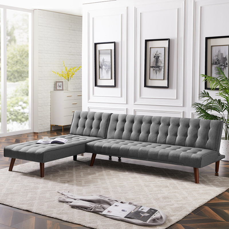 sofa set living room furniture reversible sectional sofa sleeper grey fabric with wood legs sofa bed home furniture room sofa