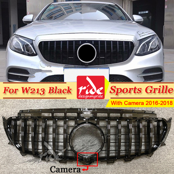 For MercedesMB W213 Front Grille Without Sign With Camera GT R Style ABS Black E Class E200 E250 E300 Sport Front Grills 2016-18