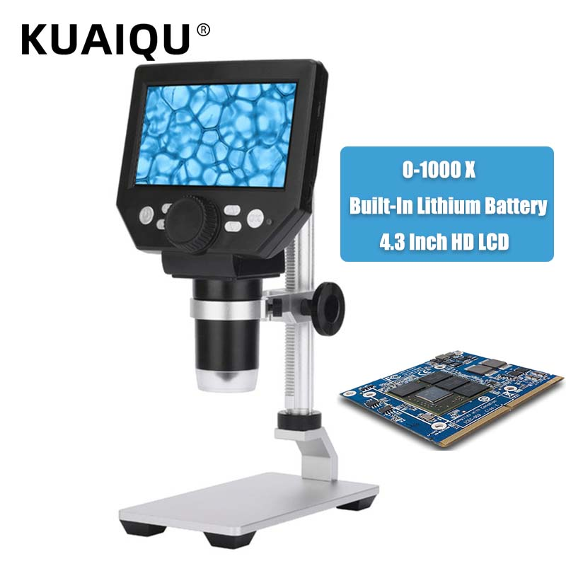 KUAIQU 600X 1000X 4.3 Inch HD LCD Digital Microscope Electronic Video Soldering Microscope 1-1000X Continuous Built-in Battery