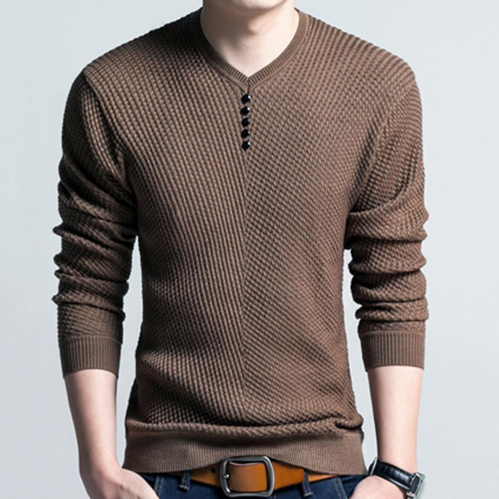 Chic Men Pullovers Solid Color V Neck Long Sleeve Pullover Slim- Fit Knitted Sweater Blouse 1