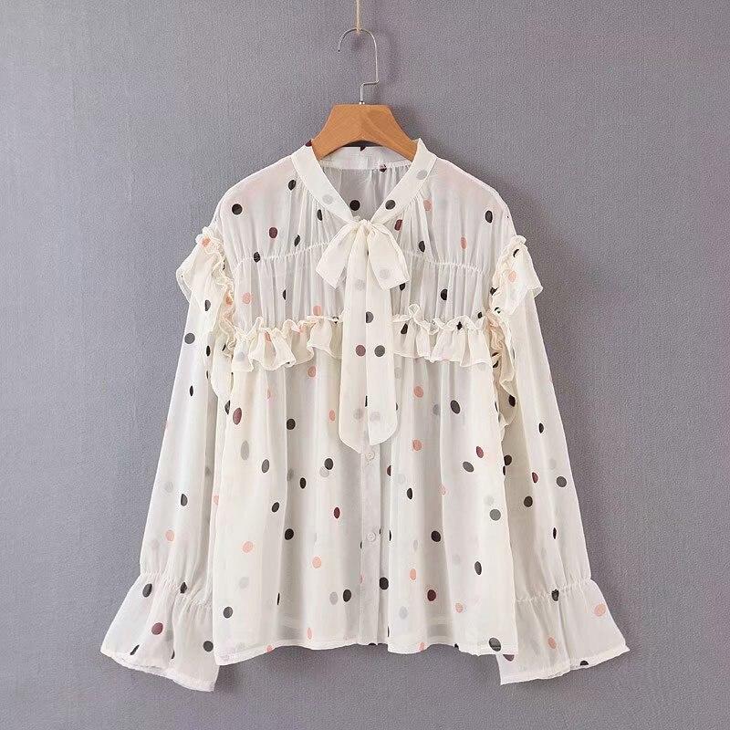 Blusas Mujer De Moda Womens Tops See Through Top Sexy Shirt  Lantern Sleeve Bow Polka Dot Chiffon Blouse shirts tops