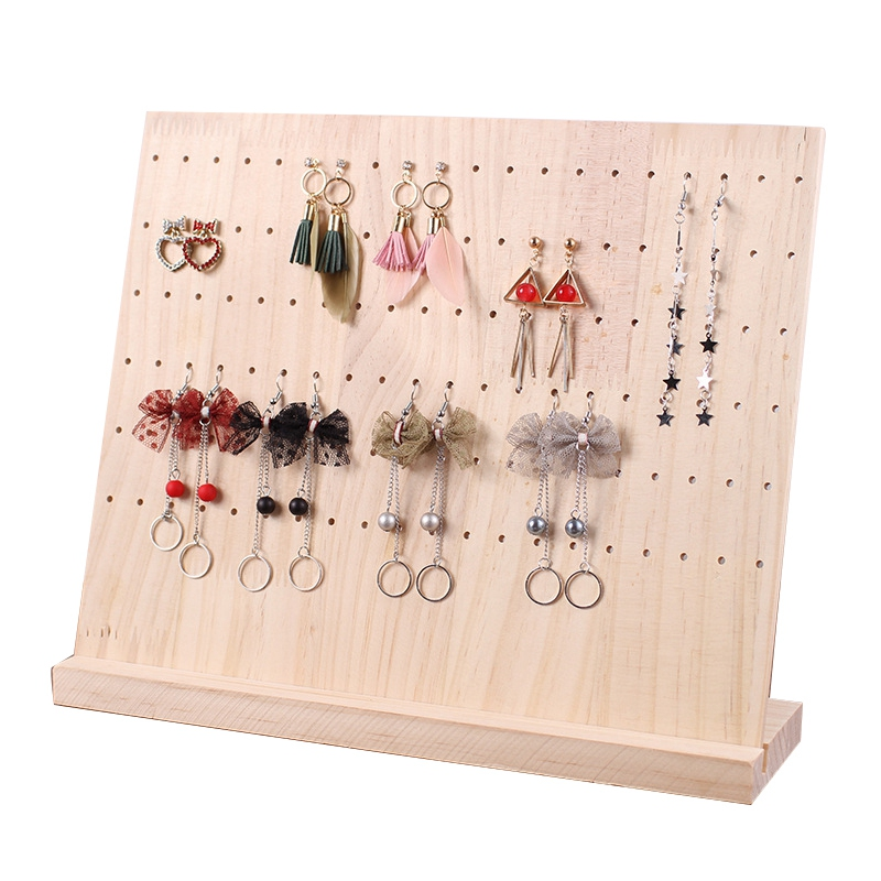 Wood Jewelry Display Hanging Stand Rack For Stud Earrings Dangle Earrings Stand 120 Holes Solid Bamboo Wood Jewelry Holder