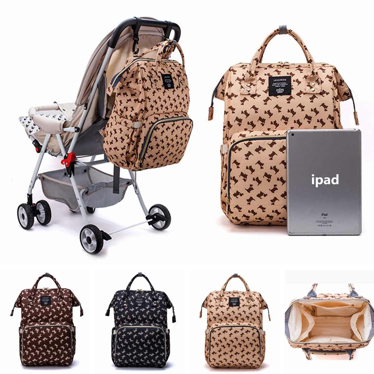 Fashion Mummy Maternity Nappy Bag Cute Puppy Large Capacity Baby Bag Travel Backpack Multifunctional Nursing Bag For Baby Care
