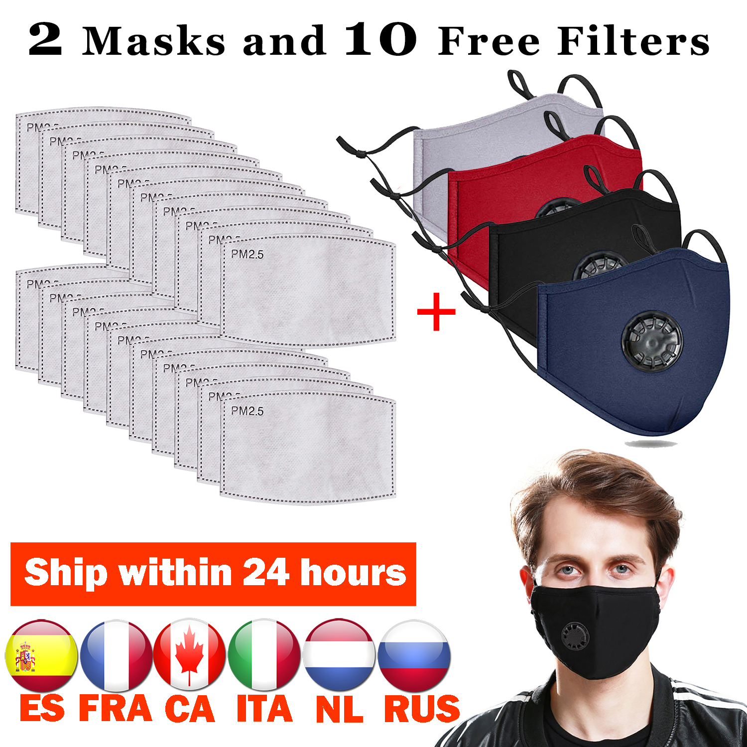 2PCS Fashion Mask Pm2.5 Filter Anti-dust Reusable Washable Cotton Mouth Mask Bacteria Proof Flu Mask With10 Filters