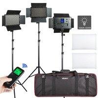 2/3PCS VL S192T LED Video Light Bi color Dimmable Wireless remote Panel Lighting Kit + 75Light Stand for studio shooting