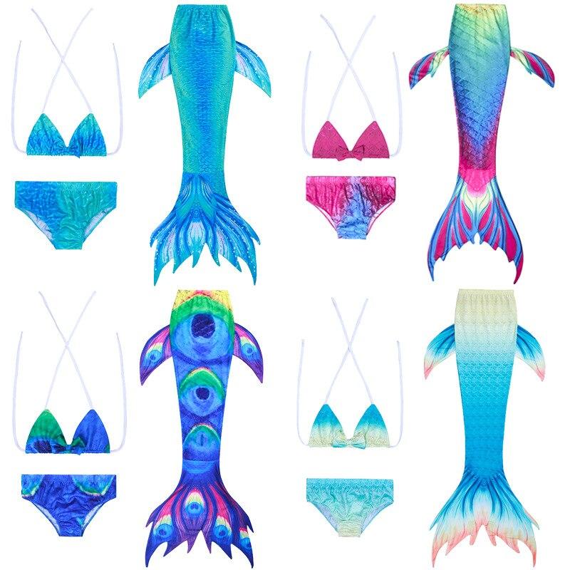 2019 New Style Mermaid Swimsuit Children Mermaid Swimsuit Three-piece Set Girls Mermaid Swimwear Foreign Trade