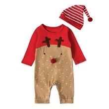цены на 2019 Baby Jumpsuits Newborn Baby Girl Boys Christmas Rompers Long Sleeve Jumpsuit Playsuit Hat Outfit Clothes Set  в интернет-магазинах