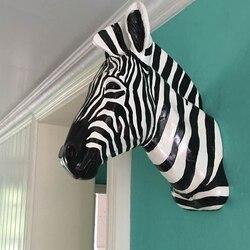 [Mgt] Wanddecoratie Sculptuur Zebra Hoofd Standbeeld Home Decoratie Accessoires Hars Dier Standbeeld Pop Craft Kerst