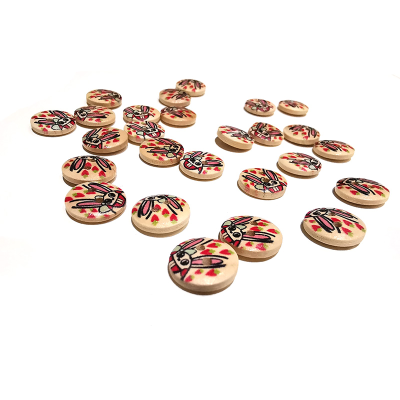 50pcs Small rabbit Printed Round Wooden Button 2 Holes 13.2mm Wood Buttons Sewing Accessories For Clothing Decoration DIY