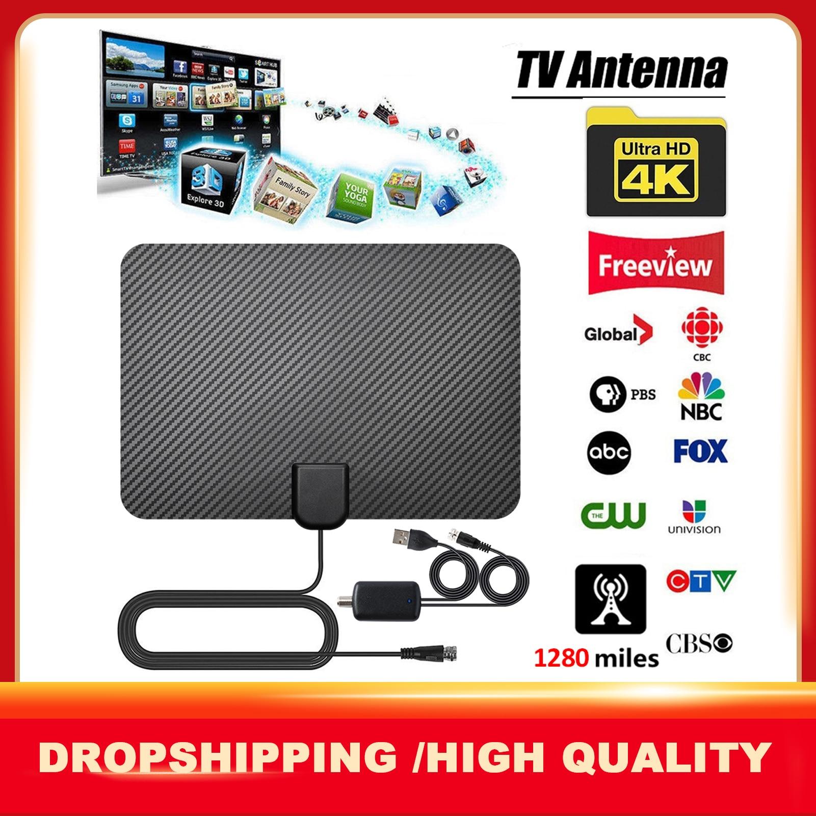 4K цифровое HDTV антенна для помещений усиленная антенна диапазон 1280 миль FM /VHF/UHF прием Full HD TV HD цифровая ТВ антенна телевиы