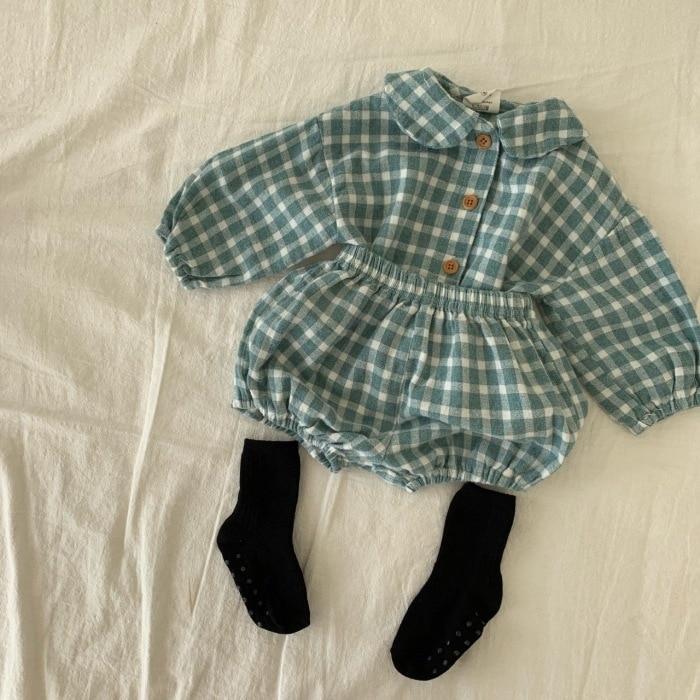 MILANCEL 2020  baby clothing plaid full sleeve shirt  and  bloomer 2 pcs boys clothes set fashion toddler girls  set