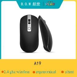 B.O.W 2.4G ergonomiczna mysz bezprzewodowa mobilna mysz optyczna na PC  komputer  Chromebook MacBook Notebook  poziomy regulacji 3 DPI