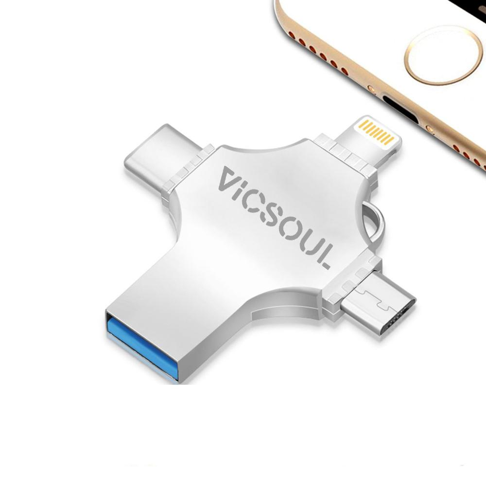 Vicsoul 4 In 1 USB 3.0 Flash Stick For IPhone/Android Type C Usb Key OTG Pendrive 128 GB 64 GB 32 GB 16 GB Mini Pen Drive