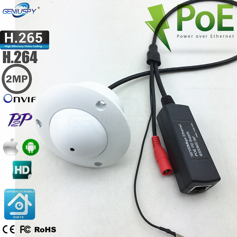 H.265 H.264 P2P Onvif UFO Flying Saucer White Colour 1080P HD POE Mini Pin Hole IP Camera Ceiling Mount For Elevator Lift Use