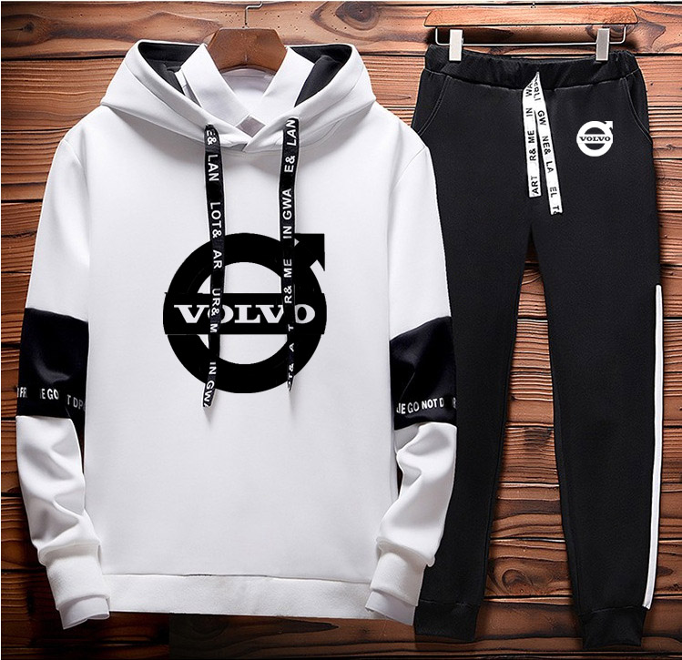 Men Hoodies Volvo Car Logo Printed Unisex Sweatshirt Casual Hoodies+Pants 2Pcs Sporting Suit Fleece Warm Thick Sportwear
