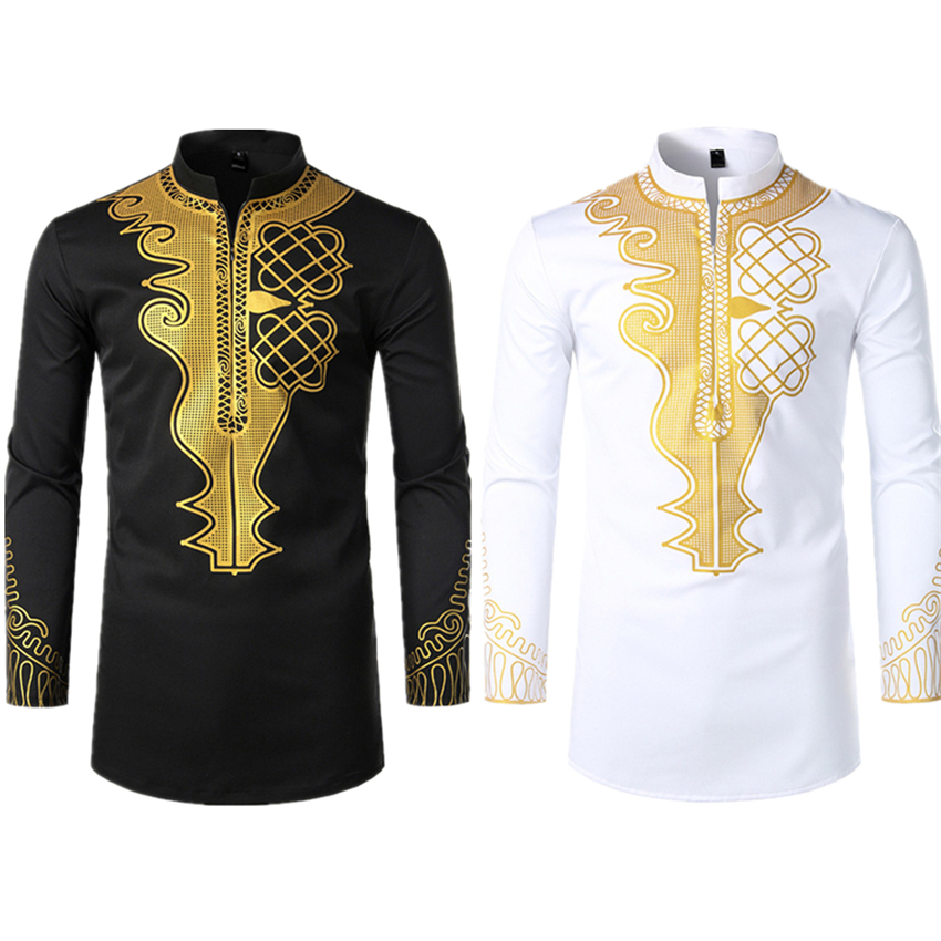 Long Sleeve Clothes For Men Shirt African Fashion Dresses Print Rich Bazin Dashiki 2019 New Slim Fit Mens Top Clothing S-2XL