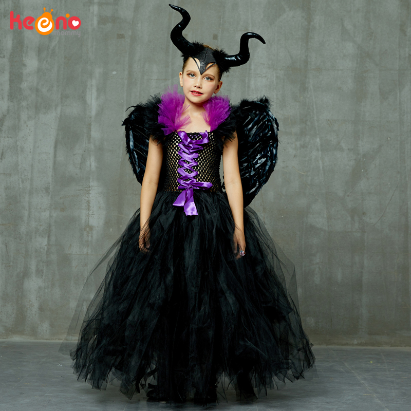 Maleficent Black Gown Tutu Dress with Deluxe Horns and Wings Girls Villain Fancy Dress Kids Halloween Cosplay Witch Costume 2