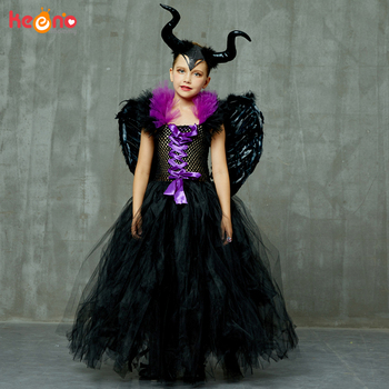 Maleficent Black Gown Tutu Dress with Deluxe Horns and Wings Girls Villain Fancy Dress Kids Halloween Cosplay Witch Costume 1