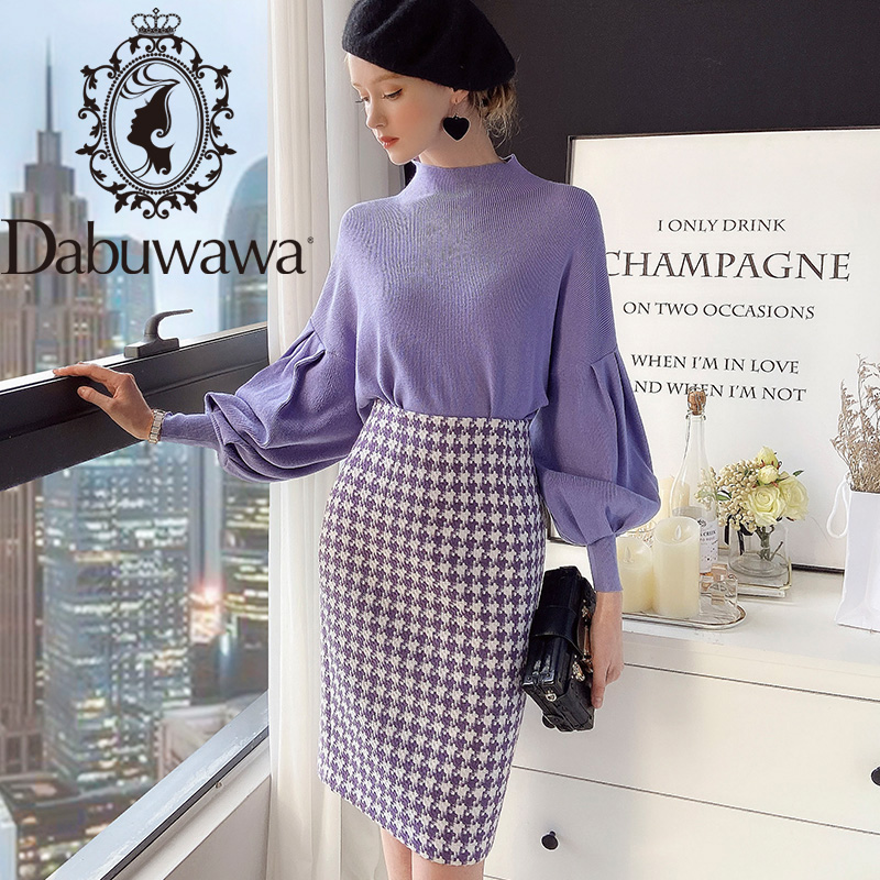 Dabuwawa Elegant Women Skirt Autumn Winter Vintage Skirt Leisure Plaid High Waist Slim Fit Wrap Skirt Office Lady DT1DSK007