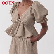 OOTN Khaki lniana damska bluzka w stylu Vintage letnia koszula z głębokim dekoltem w serek kobieca bluzka z falbanami zasznurowana Backless seksowna koszulka z Peplum bufiaste rękawy