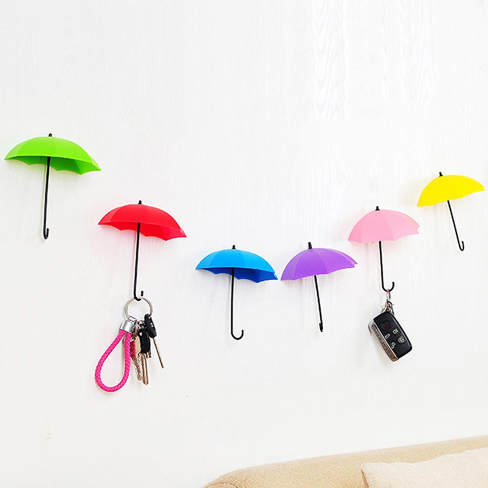 3 Pcs Umbrellas Shaped Colorful Hooks Wall Hook Key Holder Wall Hook Hanger Organizer For Kitchen Bathroom Accessories