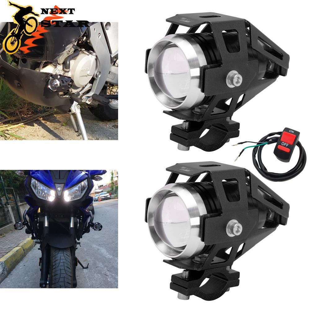 2PCS 12V Motorcycle Headlights Auxiliary Headlamp U5 LED Spotlight Accessories Moto Spot Head Lights Lamp Cannon Waterproof 125w