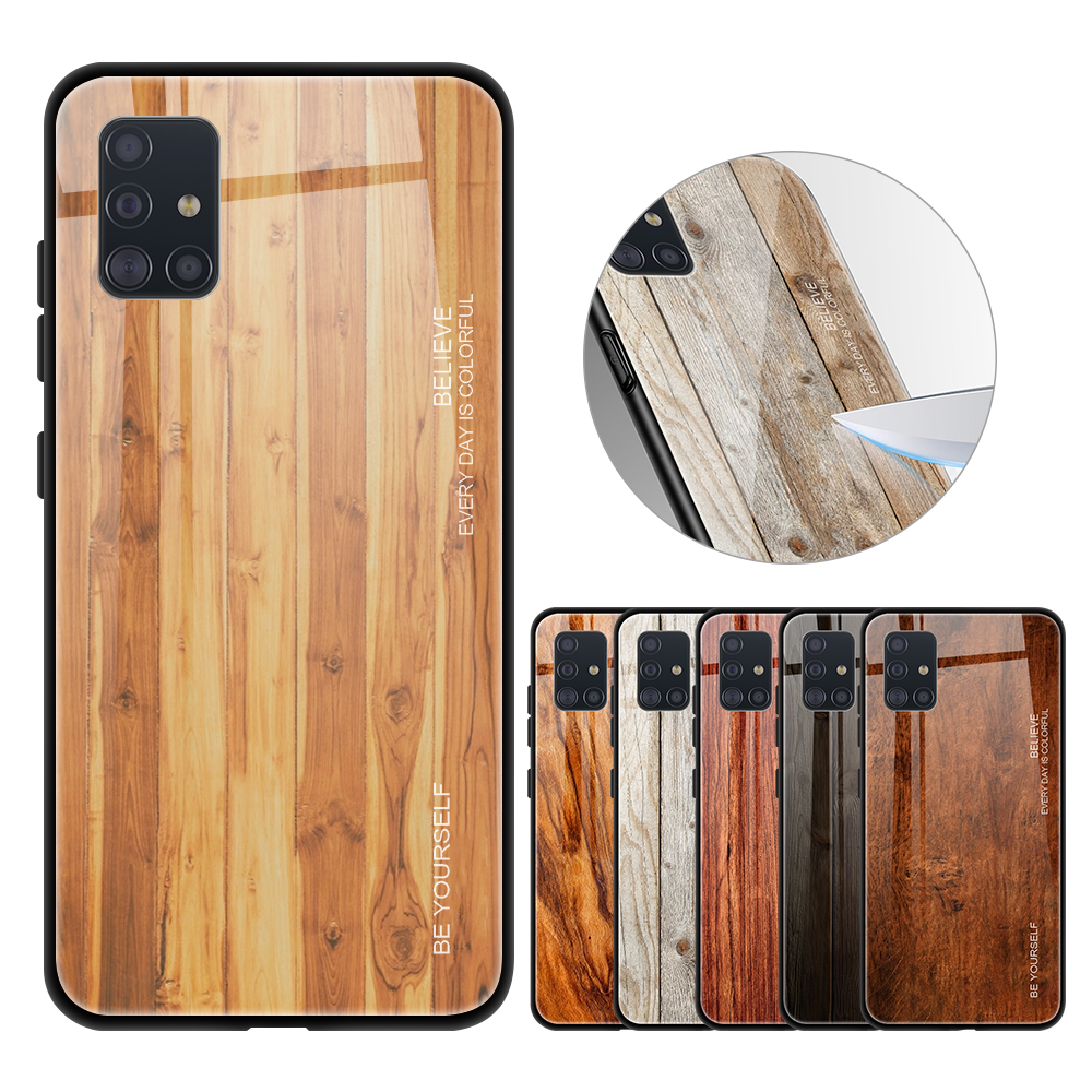 Wood Grain Phone <font><b>Case</b></font> For <font><b>Samsung</b></font> Galaxy <font><b>A10</b></font> A20 A30 s A40 A50 s A71 A51 Tempered <font><b>Glass</b></font> Hard Cover For <font><b>Samsung</b></font> Galaxy A71 A51 image