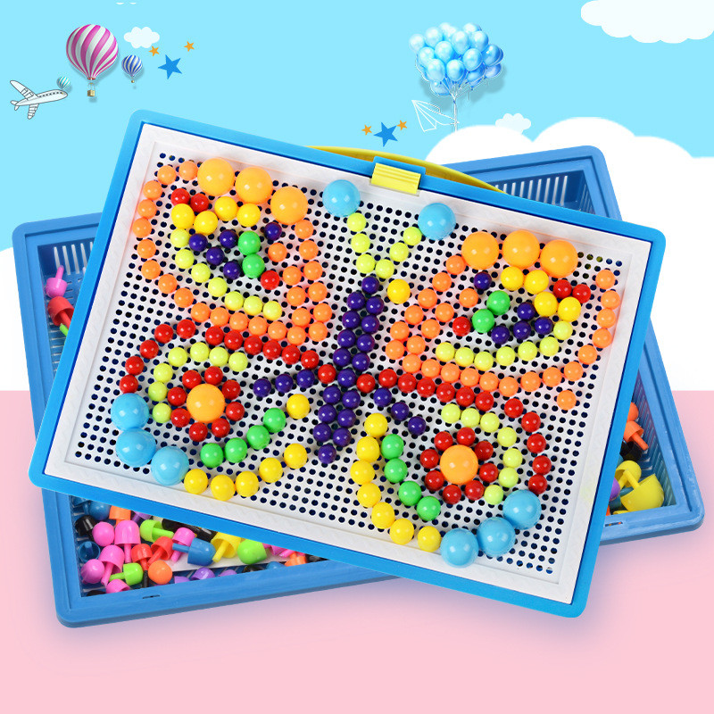 296 PCS/Set Box-packed Mushroom Nail Beads Construction Intelligent Kids Puzzle Games Jigsaw Board Educational Toys For Children