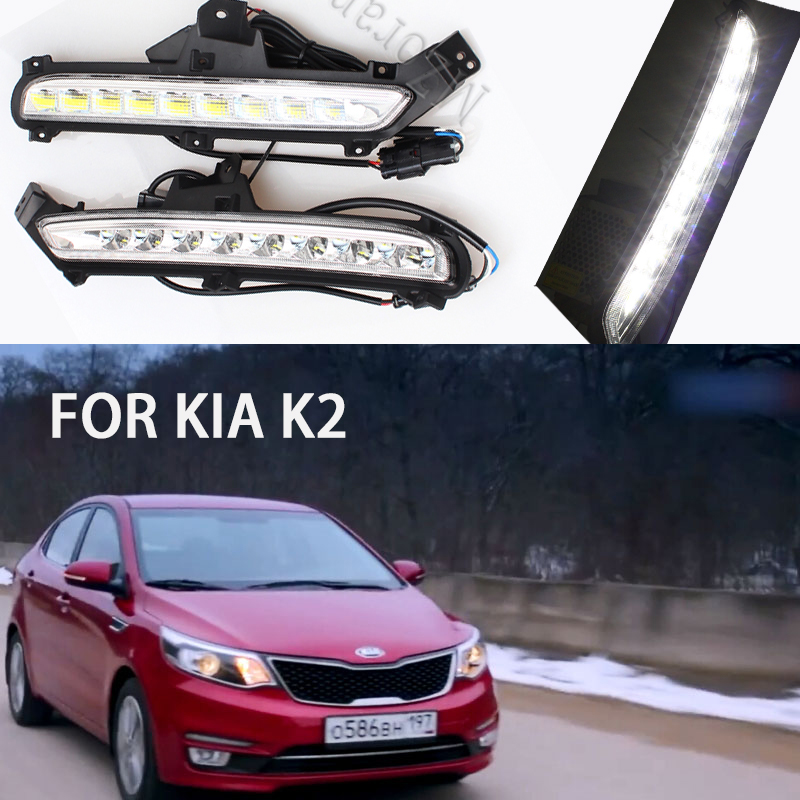 MIZIAUTO 1 Pair LED Daytime Running Light For Kia Rio K2 2015 2016 Waterproof IP67 ABS 12V DRL fog lights Fog Lamp Decoration image
