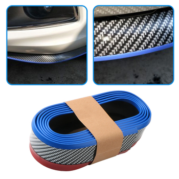 2.5m Car Front Bumper Lip Skirt Splitter Protector Front Bumper Strip Car Scratch Proof Adhesive Rubber Strips 55mm Width image
