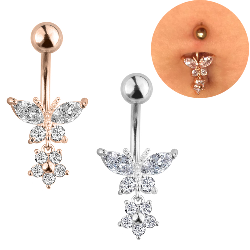 Belly Piercing Body Jewelry Stainless Steel Silver Butterfly Belly Button Ring Navel Piercing Gift
