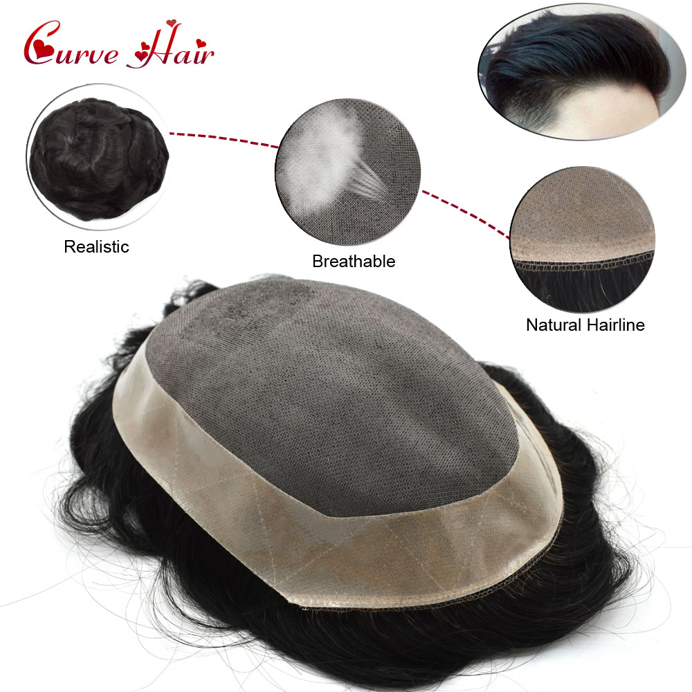 Fine Mono Mens Toupee Poly Coating Perimeter Remy Hair Replacement Hairpiece Monofilament Wig Factory Direct All Color Stock