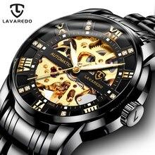 Lavaredo série clássica de aço inoxidável movimento transparente steampunk men mecânica esqueleto relógios marca superior luxo a5