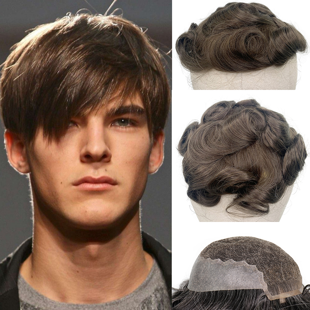YY Wigs #7 Brown Human Hair Toupee For Men 8x10 Swiss Lace & PU Remy Hair Replacement System 6 Inch Curly Men's Toupee Hairpiece