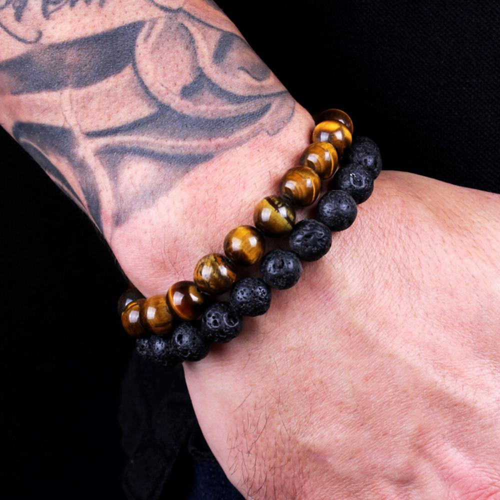 8mm Natural Stone Beads 2PCS Men Classic Lava Rock Tiger Eye Gem Stone Beaded Healing Bracelet Boyfriend For Women Men Jewelry