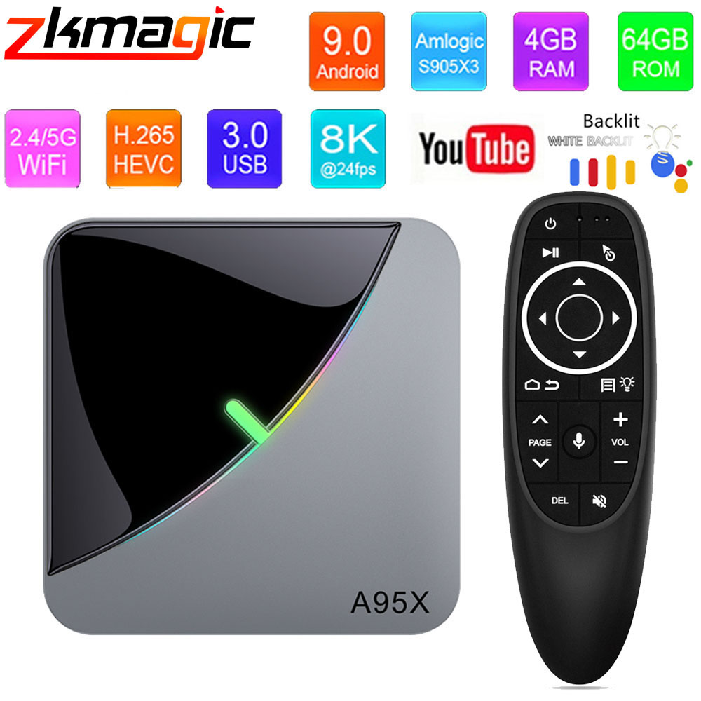 A95X F3 Air Smart TV Box Android 9.0 4GB 64GB RGB Light Amlogic S905X3 Chip google tv box 2.4G 5G Wifi BT 8K Media Player TV Box|Set-top Boxes|   - AliExpress