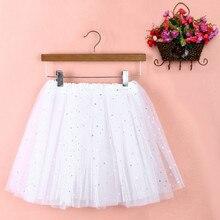 Womens Pleated Gauze Fancy Star Glitter Dancewear Tutu Skirt Sequin 3 Layers Adu