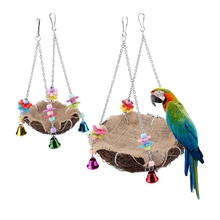 Bird-Nest Hanging-Chains Parrot-Toys with And Bells Handmade Rattan