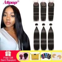 Alipop Haar Gerade Haar Bundles Mit Verschluss Peruanische Haar 3 Bundles Mit Verschluss Remy 100% Menschliches Haar Bundles Mit Verschluss