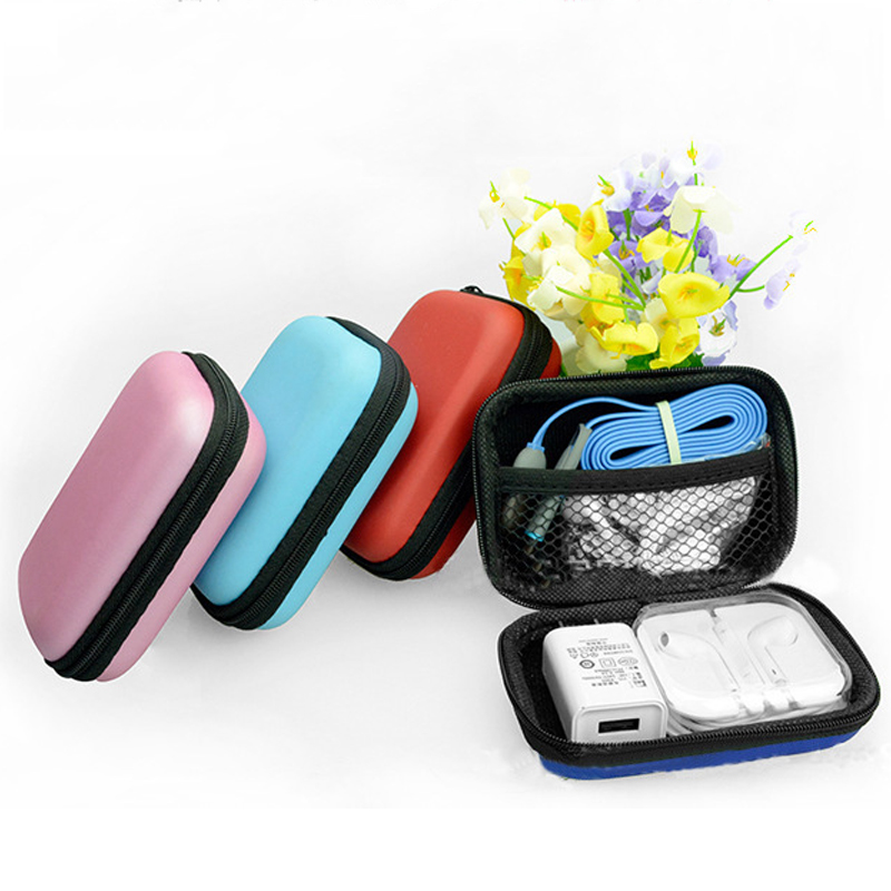 Travel Storage Bags For Earphone USB Data Cable Charger Zipper Hard Headphone Case Portable Earbuds Pouch Box Coin Organizer Bag