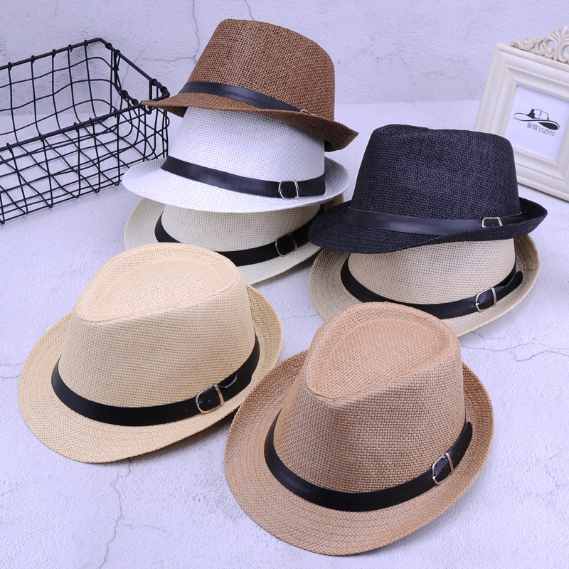 Retro Straw Fedoras Top Jazz Plaid Hat Spring Summer Bowler Hats Cap Classic Version Hats Casual Beach Hat For Men W