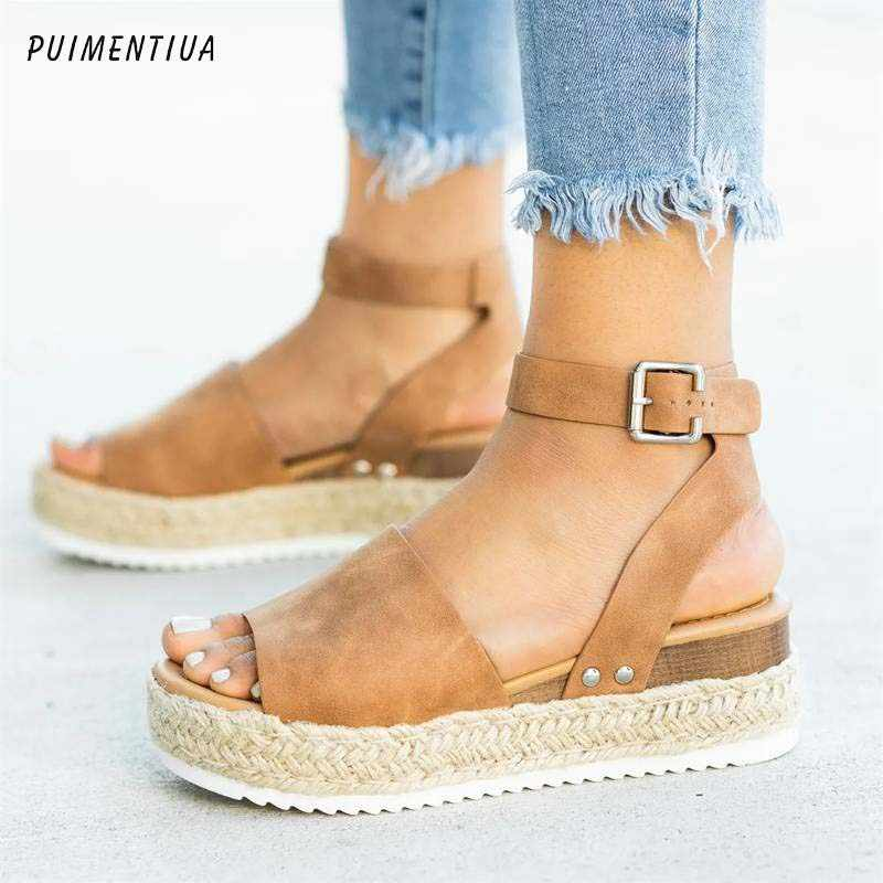 PUIMENTIUA Wedges Shoes Women  Heels Sandals Torridity Shoes 2020  Flop Chaussures   Sandals 2020 Dropshipping