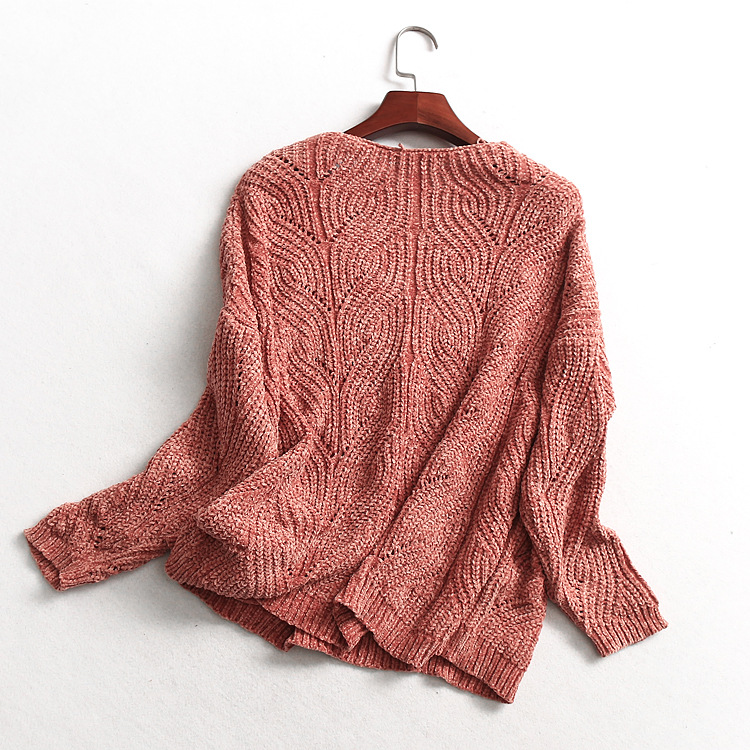 Mj113 V-neck Chenille Raglan Long Sleeve Knit Sweater Women's Sweater