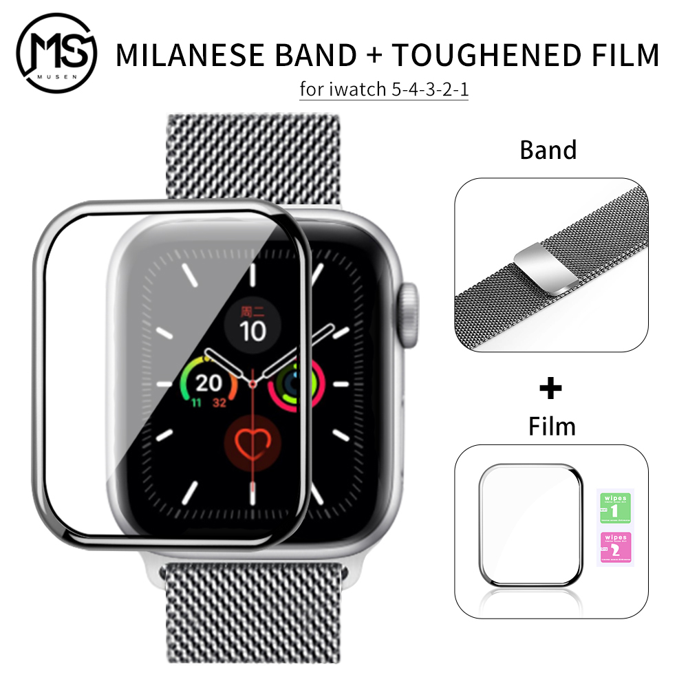 Flim+strap For Apple Watch 5 Band 44mm 40mm IWatch Band 42mm 38mm Milanese Loop Bracelet Metal Watchband For Apple Watch 4 3 2 1